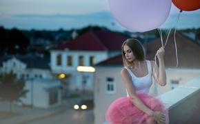 Картинка девушка, шарики, шары, блондинка, воздушные