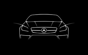 Обои cls, amg, draw, white, mercdedes, mercedes cls 63 amg