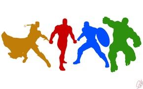 Картинка Герои, Халк, Цвета, Железный человек, Minimal, Iron Man, Marvel, Капитан Америка, Captain America, Thor, Тор, …