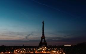 Картинка небо, ночь, огни, Франция, Париж, силуэт, фонари, Эйфелева Башня