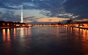 Картинка ночь, огни, Санкт-Петербург, набережная, нева