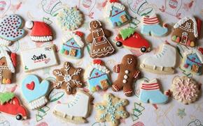 Обои машина, письмо, праздник, шапка, новый год, печенье, человечек, домик, фигурки, снежинка, коньки, печенько, глазурь, марципан