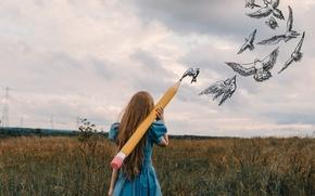 Картинка девушка, птицы, карандаш