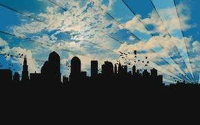 Картинка небо, облака, птицы, город, полосы, силуэты