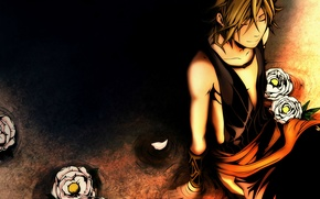 Картинка парень, черный фон, art, visual novel, камелии, donten ni warau, kemuri karakara, hirari abeno