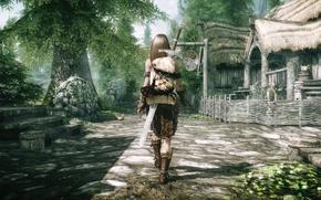Картинка девушка, забор, спина, меч, деревня, ступени, Skyrim, идёт, The Elder Scrolls V