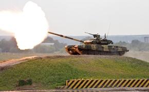 Обои пламя, гора, выстрел, танк, Россия, Т-90