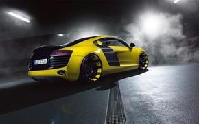 Картинка Audi, Yellow, Smoke, Supercar, Rear, MTM