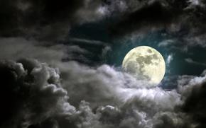 Обои луна, ночь, небо, свет, облака