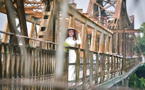 Картинка девушка, мост, прогулка, азиатка