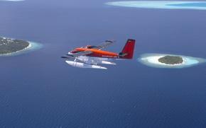 Картинка острова, самолет, океан, гидроплан