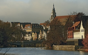 Картинка небо, мост, река, дома, Германия, Тюбинген