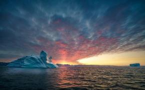Картинка море, солнце, океан, ледник, Гренландия