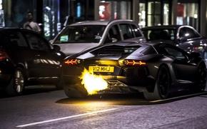 Картинка Lamborghini, fire, black, Aventador, LP 700-4