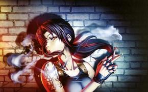 Картинка взгляд, девушка, дым, тату, сигарета, black lagoon, revy, art, hiroe rei