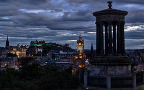 Картинка небо, тучи, город, вечер, Шотландия, освещение, Великобритания, архитектура, столица, Эдинбург