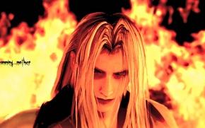 Картинка лицо, огонь, пламя, final fantasy, sephiroth