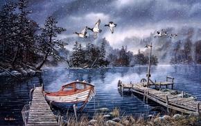Картинка озеро, лодка, утки, причал, катер, фонарь, живопись, поздняя осень, первый снег, Ken Zylla, Lake of …