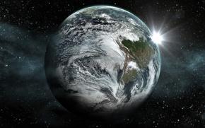 Картинка космос, звезды, планета, space, stars, planet, экзопланета, kepler 452b