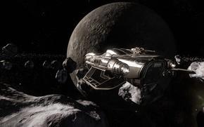 Обои осколки, полет, пояс, космически корабль, космос