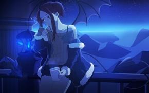 Обои небо, девушка, звезды, облака, ночь, крылья, аниме, арт, кружка, chibiibiru