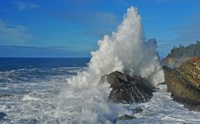 Картинка море, небо, облака, брызги, шторм, скалы