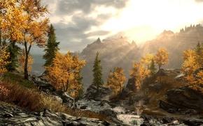 Картинка dusk, Skyrim, riverflow