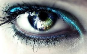 Картинка глаз, отражение, манияж