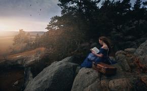 Картинка осень, девушка, камни, книга, чемодан, Miss Froggi