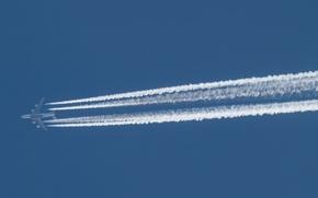 Картинка небо, след, самолёт