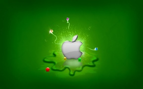 Обои зелень, Apple, Splash