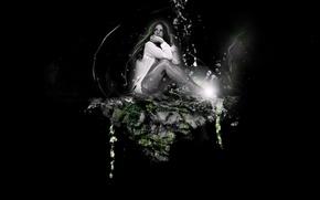 Картинка вода, скала, Кейт, photoshop, Beckinsale, Kate, Бекинсейл