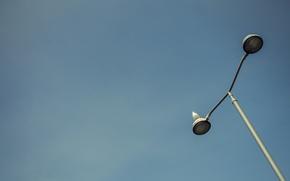 Картинка небо, птицы, лампа, фонарный столб
