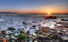 Обои море, солнце, Берег, камни