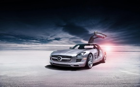 Картинка пустыня, Mercedes-Benz, серебристый, AMG, SLS, мерседес бенц, silvery