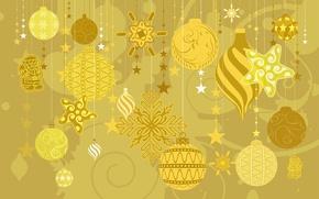 Картинка зима, украшения, желтый, игрушки, елка, новый год, колокольчик, праздники