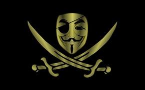 Картинка Минимализм, Фон, Маска, Пират, Anonymous, Анонимус, Шпаги
