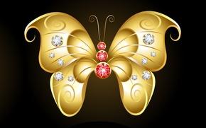 Картинка темный фон, абстракции, бабочка, камешки, золотая