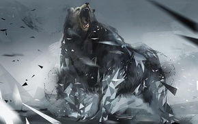 Картинка фон, треугольники, медведь, ярость, фигуры