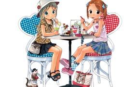 Картинка девочки, аниме, арт, кафе, пирожное, Клубничный зефир, Ichigo Mashimaro