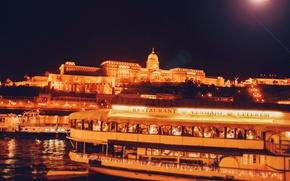 Картинка вода, свет, ночь, мост, город, огни, река, здание, корабль, освещение, Венгрия, Hungary, Будапешт, Дунай, Budapest
