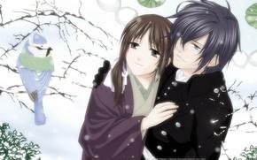 Обои снег, зима, chizuru yukimura, Saito Hajime, hakuouki shinsengumi kitan, парень, пара, дерево, девушка, птица