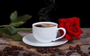 Картинка цветок, роза, кофе, зерна, чашка, красная, блюдце