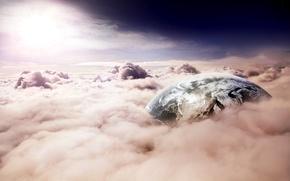 Обои свет, земля, небо, планета, облака