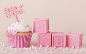 Картинка украшения, розовый, крем, pink, sweet, cupcake, кекс, baby, delicate