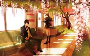 Обои девушка, деревья, цветы, метро, лепестки, наушники, пара, Аниме, парень, сумка, школьная форма