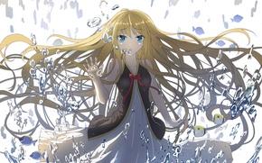 Картинка вода, девушка, капли, волосы, аниме, арт
