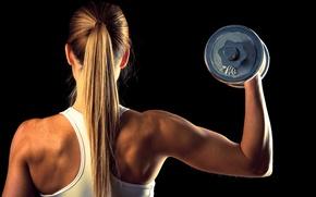 Картинка blonde, fitness, hand weights, 2 kilos