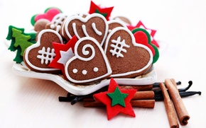 Картинка Новый Год, печенье, тарелка, Рождество, сердечки, сладости, корица, Christmas, праздники, New Year, пряности, новогоднее