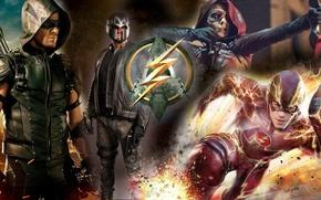 Картинка flash, arrow, barry allen, oliver queen, flash and arrow